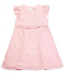 Little Girls Pink Lace Flutter-Sleeve Dress