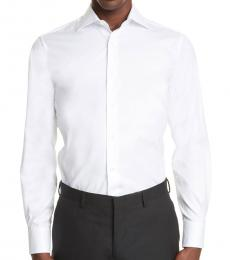Canali White Regular Fit Solid Dress Shirt