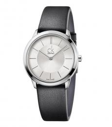 Black Minimal Silver Dial Watch