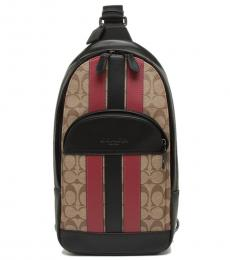 Coach Tan/Soft Red Houston Varsity Stripe Large Slingpack