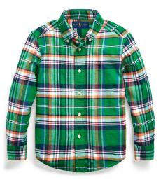 Little Boys Green/Orange Multi Plaid Shirt