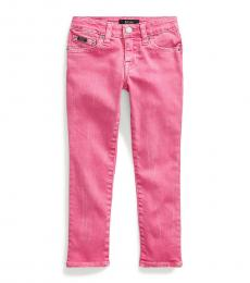 Ralph Lauren Little Girls Baja Pink Tompkins Skinny Fit Jeans