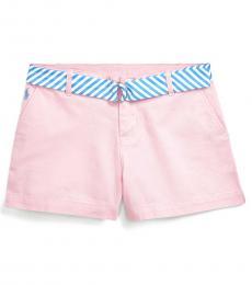 Ralph Lauren Girls Carmel Pink Belted Chino Shorts