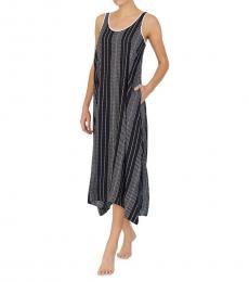 Black Print Striped Chemise Sleepwear