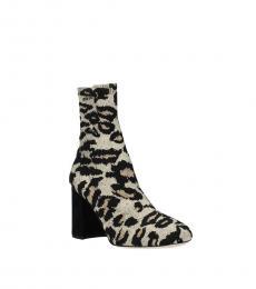 Beige Animal Print Boots