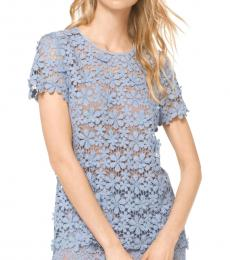 Michael Kors Chambray Mixed Floral Lace Top