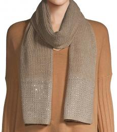 Calvin Klein Heathered Almond Studded Knit Scarf