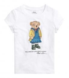 Ralph Lauren Girls White Raincoat Bear T-Shirt