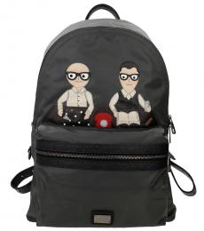 Dolce & Gabbana Grey Family Men Large Backpack