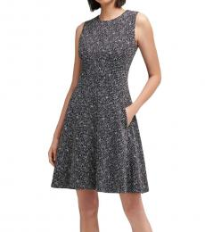 DKNY Black Combo Tweed Knit Fit-And-Flare Dress