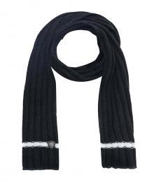 Emporio Armani Black Logo Knit Scarf