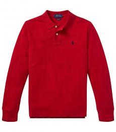 Ralph Lauren Boys Red Long-sleeve Polo