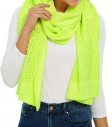 DKNY Neon Yellow Open-Knit Blocked Scarf