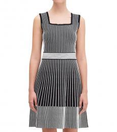 Kate Spade Blackwhite Rib Knit Striped Sweater Dress
