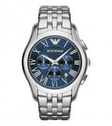 Emporio Armani Silver Navy Blue Dial Watch