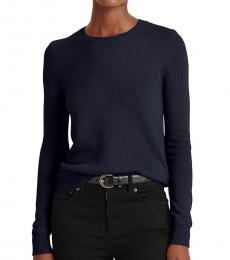 Ralph Lauren Lauren Navy Wool-Blend Sweater