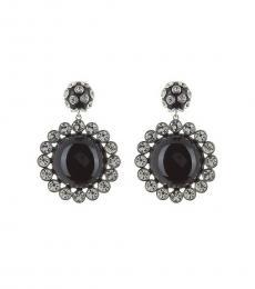 Black Drop Statement Flower Earrings