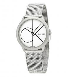 Calvin Klein Silver Black Logo Watch