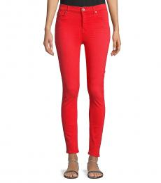 Red High-Rise Ankle Skinny Jeans