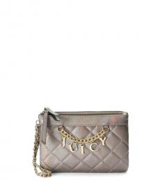 Juicy Couture Grey Pewter Quilted Wristlet