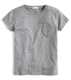 J.Crew Girls Pewter Heart Pocket T-Shirt