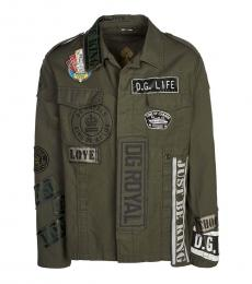 Olive Logo Patch Denim Jacket