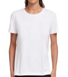 DKNY White Soild Casual T-Shirt