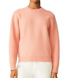 Tory Burch Coral Ribbed Merino Sweater
