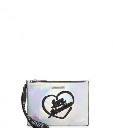 Love Moschino Silver Hologram Convertible Clutch