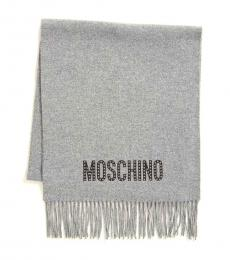 Moschino Grey Studded Scarf