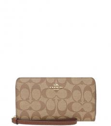Coach Khaki/Saddle Phone Logo Wallet
