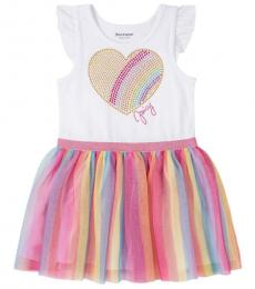 Juicy Couture Little Girls White Embellished Rainbow Heart Dress