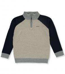 DKNY Boys Oatmeal Cable Zip Collar Sweater