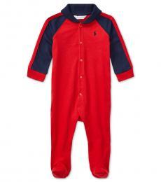Ralph Lauren Baby Boys Red Shawl-Collar Coverall