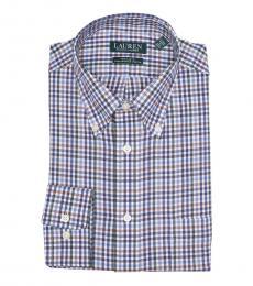 Ralph Lauren Dark Blue Plaid Regular Fit Dress Shirt