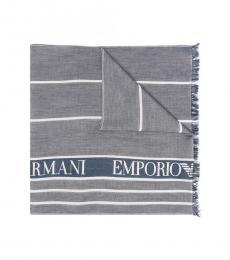 Emporio Armani Grey Blue-White Logo Stripe Scarf