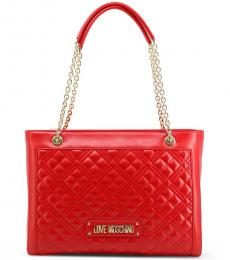 Love Moschino Red Quilted Large Tote