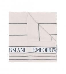 Emporio Armani Cream-Black Logo Scarf