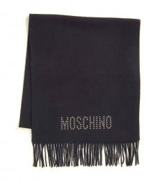 Moschino Black Studded Scarf