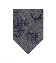 DKNY Navy Blue Floral Slim Tie