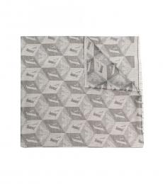 Emporio Armani Stone Grey Monogram Scarf