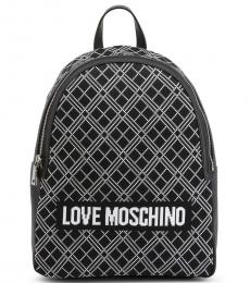 Love Moschino Black Logo Top Handle Large Backpack