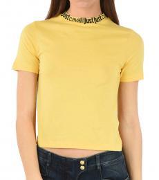 Yellow Logo Neckline Cropped Top