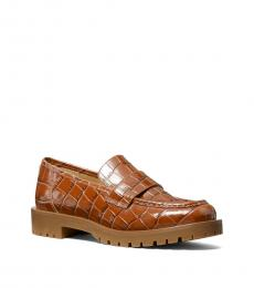 Michael Kors Chestnut Holland Croc Print Loafers
