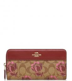 Coach Khaki/Pink Signature Zip Wallet