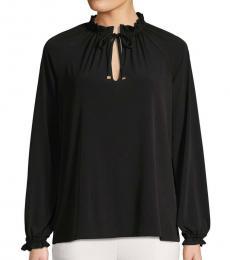 Black Long-Sleeve Mockneck Top