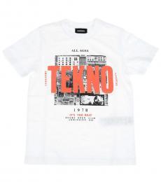 Diesel Little Boys White Graphic Print T-Shirt