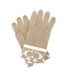 Coach Beige Wool Signature Gloves