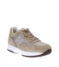 Beige Sporty Logo Sneakers