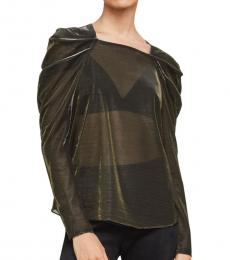 BCBGMaxazria Black Draped-Shoulder Top